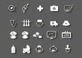 Set of healthcare medical woman pregnancy icons baby vector symbols white on grey background with shadow Royalty Free Stock Images