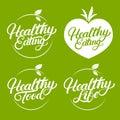 Set of Healthy eating, food, life hand written lettering logo, label, badge, emblem.