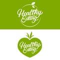 Set of Healthy Eating hand written lettering logo, label, badge, emblem.