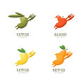 Set of healthy food logo, emblem, label design. Bitten fruits icons.