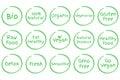 Set of Healthy Food vector symbols. Vegan, Bio, Organic, Fresh etc.