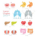 Set of healthy and sick human organs in cartoon style.