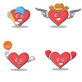 Set of heart character with baseball cowboy basketball boxing