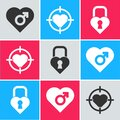 Set Heart with male gender, Heart in the center of darts target aim and Castle in the shape of a heart icon. Vector Royalty Free Stock Photo