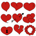 Set Heart Red - vector