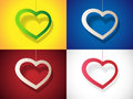 Set heart with shadow vector illustration Royalty Free Stock Images