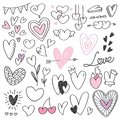 Set of heart shape doodle isolated on white