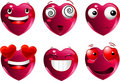 Set of heart shape emoticons Stock Image