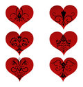 Set hearts with floral ornament inside Stock Images