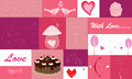 Set of hearts and love icons various example like couple birds heart lovely cake cupcake Royalty Free Stock Photos