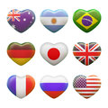 Set of hearts with picture of flags isolated on white background Royalty Free Stock Photos