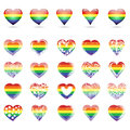 Set of hearts with rainbow colors