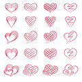 Set of hearts red hand drawn Stock Photo