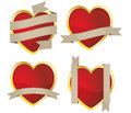 Set hearts ribbon Royalty Free Stock Photo