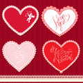 Set of hearts shape are made of lace doily elemen elements for valentines day or wedding design Royalty Free Stock Image