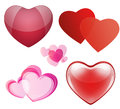 Set of hearts for valentines day different on white Royalty Free Stock Photography