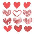 Set of hearts on white background a painted isolated a Stock Image
