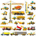 Set of heavy construction machines, icons, isolated, vector