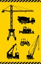 Set of heavy construction machines icons vector silhouette illustration equipment and machinery Royalty Free Stock Images
