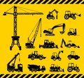 Set of heavy construction machines icons vector silhouette illustration equipment and machinery Stock Photos