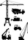 Set of heavy construction machines icons vector silhouette illustration equipment and machinery Royalty Free Stock Photos