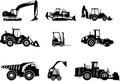 Set of heavy construction machines. Vector
