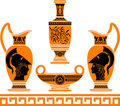 Set of hellenic vases Stock Image