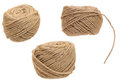 Set hemp cord roll Stock Photo