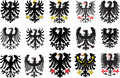 Set of heraldic black eagles. Vector illustration