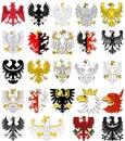 Set of heraldic eagles of Poland