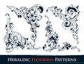 Set of heraldic flourish patterns Stock Photo
