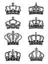 Set of heraldic royal crowns in ornate filigree calligraphic designs Stock Photography