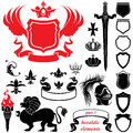Set of heraldic silhouettes elements Stock Image