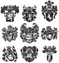 Set of heraldic silhouettes no vector image black medieval executed in woodcut style isolated on white background blends gradients Stock Photo