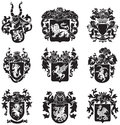 Set of heraldic silhouettes no vector image black medieval executed in woodcut style isolated on white background blends gradients Royalty Free Stock Photo