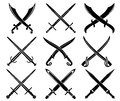 Set of heraldic swords and sabres Royalty Free Stock Photos