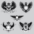 Set of heraldry winged shield