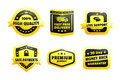 A set of high quality badges yellow and black modern free shipping fast shipping and next day delivery using truck icon and box Stock Image