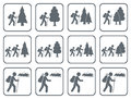Set of Hiking icon illustration isolated vector