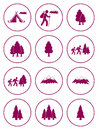 Set of Hiking and Natural areas icons
