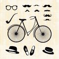 Set of the hipster with bicycle this is file eps format Royalty Free Stock Photo