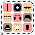 Set of hipster icons stylish Royalty Free Stock Photos