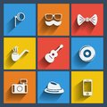 Set of hipster web and mobile icons vector in flat design symbols monocle glasses mustache bow tie smoke pipe guitar record Royalty Free Stock Images