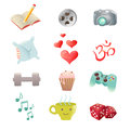 Set of hobby icons showing pastime activities reading sports movies sleep food Royalty Free Stock Photography