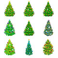 Set of holiday decorated christmas tree for celebrate xmass with ball gold bells candles stars lights candy and