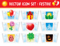 Set holiday icons Stock Photography