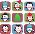 Set of holiday penguins Stock Images