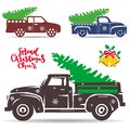 Set of holiday trucks that carry a Christmas tree. Silhouette Ob