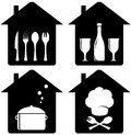 Set home icon with kithen utencil black silhouette Stock Photos