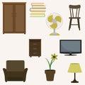 Set of home interior items.